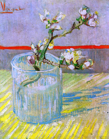 Vincent Van Gogh Blossoming Almond Branch in a Glass - Hand Painted Oil Painting