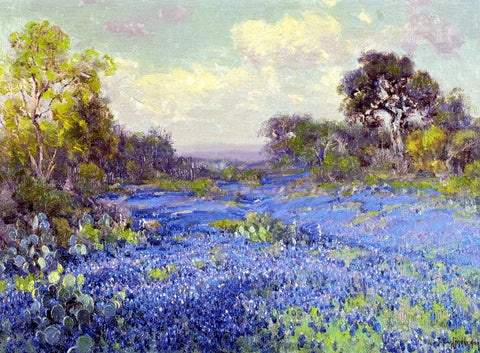 Julian Onderdonk Blue Bonnets at Late Afternoon - Hand Painted Oil Painting
