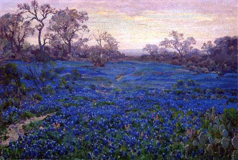 Julian Onderdonk Bluebonnets at Twilight, near San Antonio - Hand Painted Oil Painting