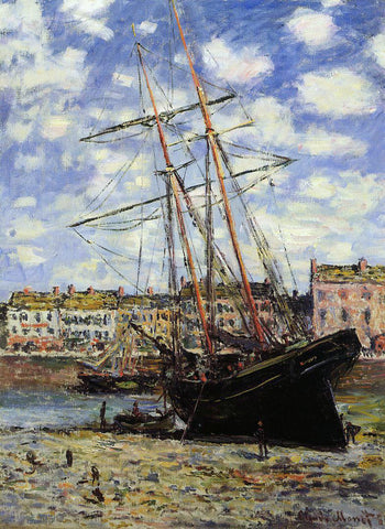 Claude Oscar Monet Boat at Low Tide at Fecamp - Hand Painted Oil Painting