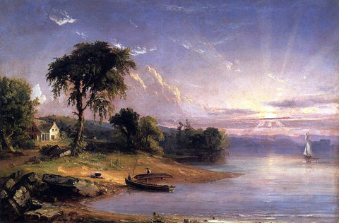 Jasper Francis Cropsey Boat Caulking on Greenwood Lake - Hand Painted Oil Painting