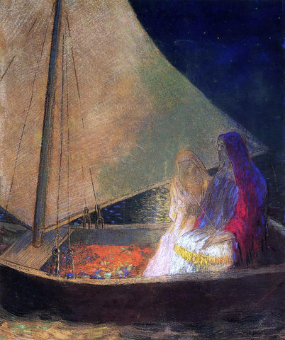 Odilon Redon Boat with Two Figures - Hand Painted Oil Painting