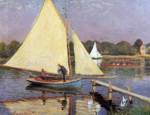 Claude Oscar Monet Boaters at Argenteuil - Hand Painted Oil Painting