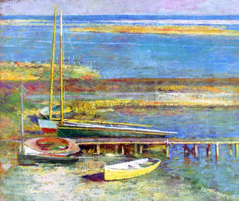 Theodore Robinson Boats at a Landing - Hand Painted Oil Painting