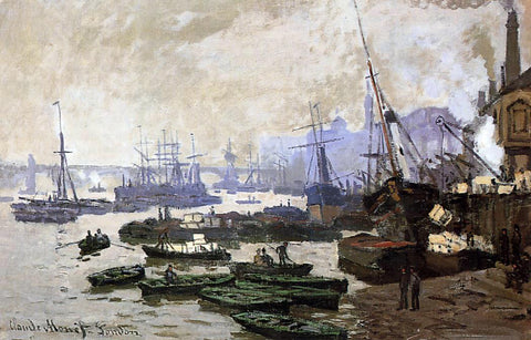 Claude Oscar Monet Boats in the Port of London - Hand Painted Oil Painting