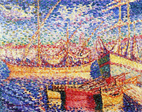 Henri Edmond Cross Boats in the Port of St. Tropez - Hand Painted Oil Painting
