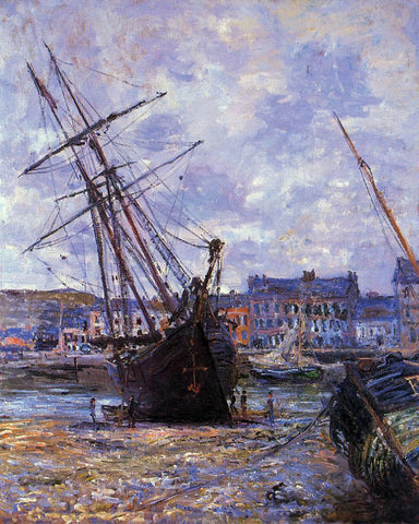 Claude Oscar Monet Boats Lying at Low Tide at Facamp - Hand Painted Oil Painting