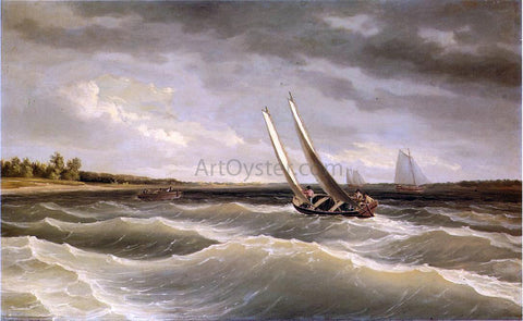 Thomas Birch Boats Navigating the Waves - Hand Painted Oil Painting
