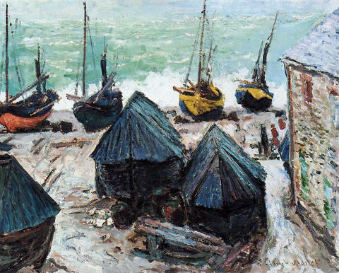 Claude Oscar Monet Boats on the Beach at Etretat - Hand Painted Oil Painting