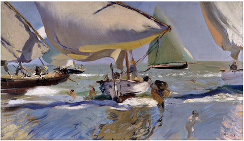 Joaquin Sorolla Y Bastida Boats on the beach - Hand Painted Oil Painting