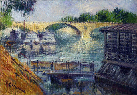 Gustave Loiseau Boats on the Seine - Hand Painted Oil Painting