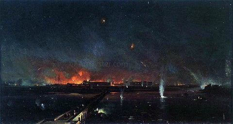 Ippolito Caffi Bombardment of Marghera on the Night of May 24, 1849 - Hand Painted Oil Painting