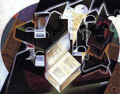 Juan Gris Book, Pipe and Glasses - Hand Painted Oil Painting