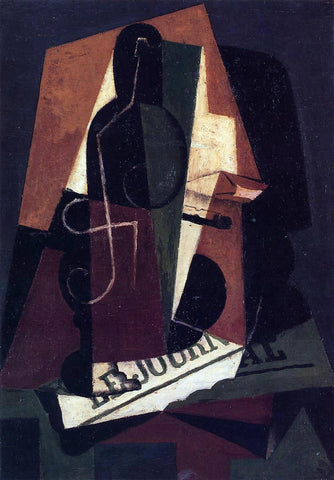 Juan Gris Bottle and Glass - Hand Painted Oil Painting