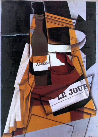 Juan Gris Bottle, Newspaper and Fruit Bowl - Hand Painted Oil Painting