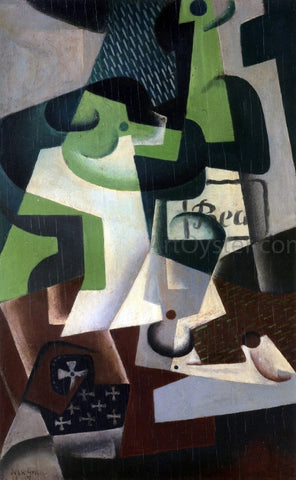 Juan Gris Bottle of Beaune and a Fruit Dish - Hand Painted Oil Painting