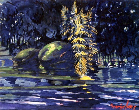George Luks Boulders on a Riverbank - Hand Painted Oil Painting