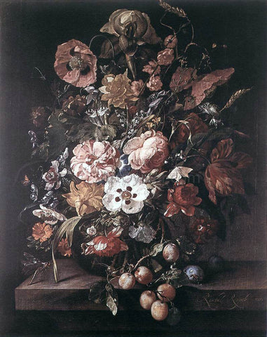 Rachel Ruysch Bouquet in a Glass Vase - Hand Painted Oil Painting