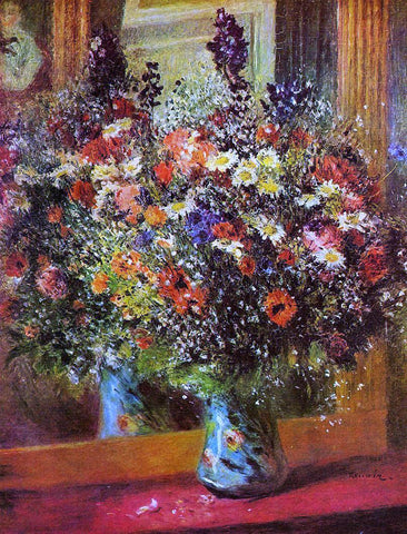 Pierre Auguste Renoir A Bouquet in Front of a Mirror - Hand Painted Oil Painting