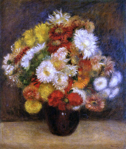 Pierre Auguste Renoir Bouquet of Chrysanthemums - Hand Painted Oil Painting