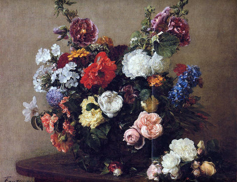 Henri Fantin-Latour Bouquet of Diverse Flowers - Hand Painted Oil Painting