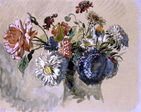 Eugene Delacroix Bouquet of Flowers - Hand Painted Oil Painting