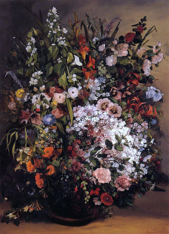 Gustave Courbet Bouquet of Flowers - Hand Painted Oil Painting