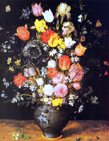 The Elder Jan Bruegel Bouquet of Flowers in a Blue Vase - Hand Painted Oil Painting