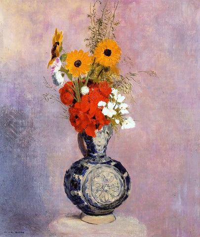 Odilon Redon Bouquet of Flowers in a Blue Vase - Hand Painted Oil Painting