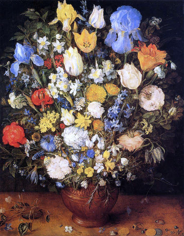 The Elder Jan Bruegel Bouquet of Flowers in a Ceramic Vase - Hand Painted Oil Painting