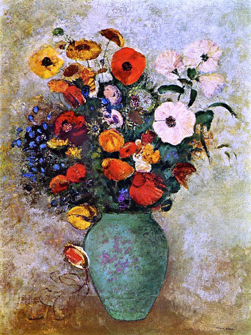 Odilon Redon Bouquet of Flowers in a Green Vase - Hand Painted Oil Painting