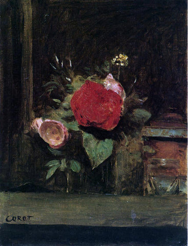 Jean-Baptiste-Camille Corot Bouquet of Flowers in a Vase next to a Pot of Tobacco - Hand Painted Oil Painting