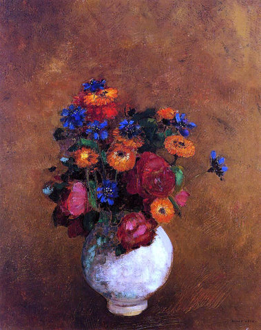 Odilon Redon Bouquet of Flowers in a White Vase - Hand Painted Oil Painting