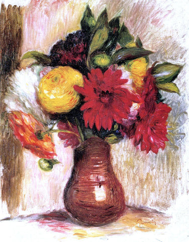 Pierre Auguste Renoir Bouquet of Flowers in an Earthenware Pitcher - Hand Painted Oil Painting