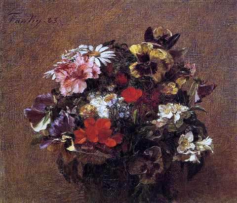 Henri Fantin-Latour Bouquet of Flowers: Pansies - Hand Painted Oil Painting