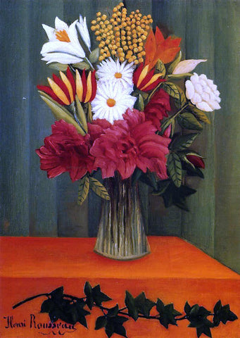 Henri Rousseau Bouquet of Flowers with an Ivy Branch - Hand Painted Oil Painting