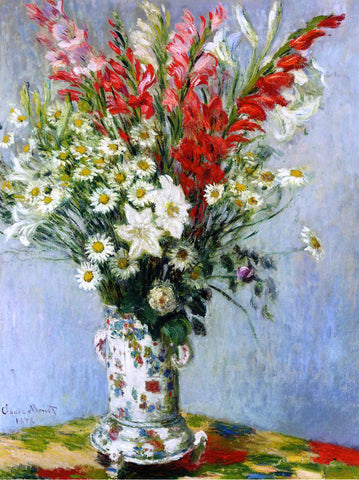Claude Oscar Monet Bouquet of Gladiolas, Lilies and Daisies - Hand Painted Oil Painting