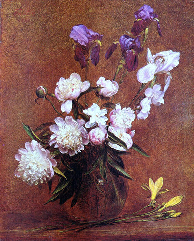 Henri Fantin-Latour Bouquet of Peonies and Iris - Hand Painted Oil Painting