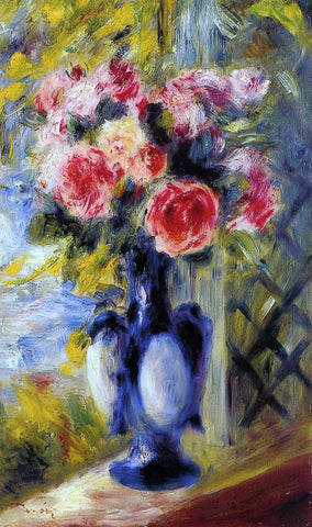 Pierre Auguste Renoir Bouquet of Roses in a Blue Vase - Hand Painted Oil Painting