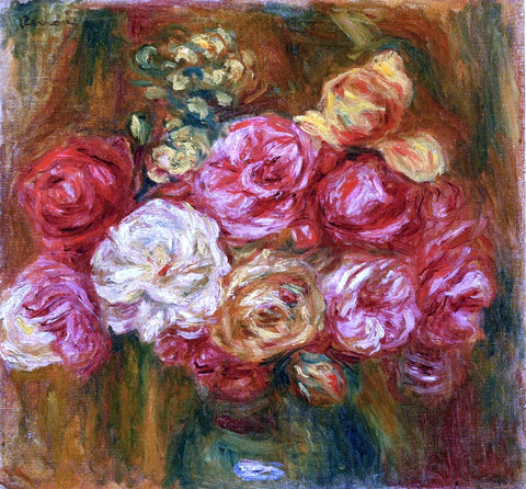 Pierre Auguste Renoir Bouquet of Roses in a Green Vase - Hand Painted Oil Painting