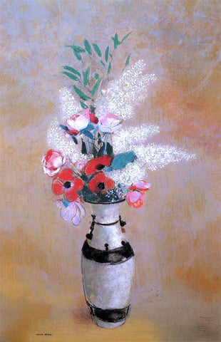 Odilon Redon Bouquet with White Lilies in a Japanese Vase - Hand Painted Oil Painting