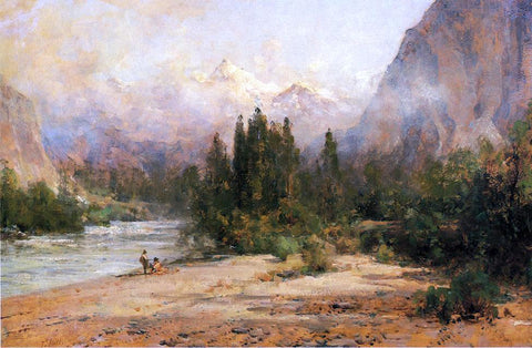 Thomas Hill Bow River Gap at Banff, on Canadian Pacific Railroad - Hand Painted Oil Painting