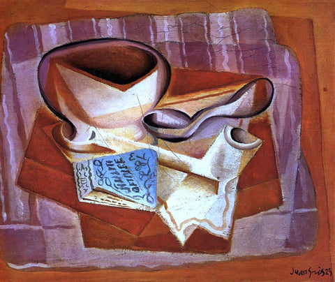 Juan Gris Bowl, Book and Spoon - Hand Painted Oil Painting