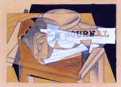 Juan Gris Bowl, Glass and Newspaper - Hand Painted Oil Painting