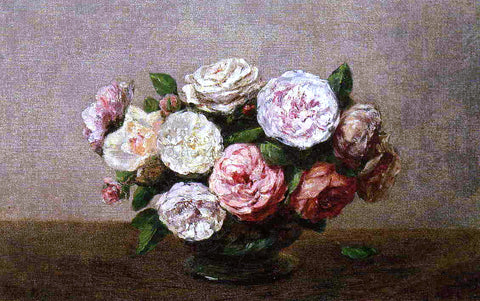Henri Fantin-Latour Bowl of Roses - Hand Painted Oil Painting
