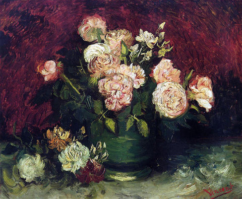 Vincent Van Gogh Bowl with Peonies and Roses - Hand Painted Oil Painting
