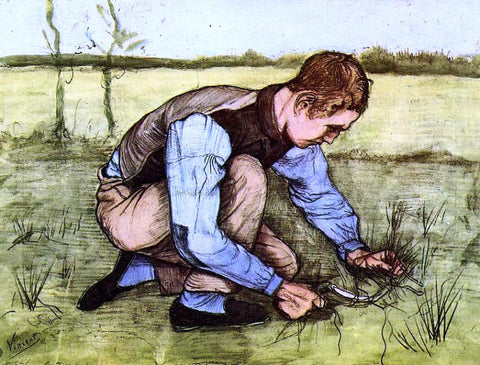 Vincent Van Gogh Boy Cutting Grass with a Sickle - Hand Painted Oil Painting