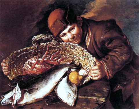 Giacomo Ceruti Boy with a Basket of Fish - Hand Painted Oil Painting