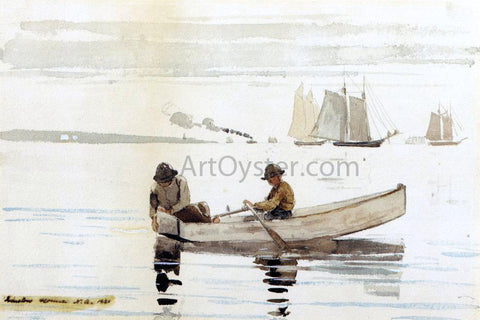 Winslow Homer Boys Fishing, Gloucester Harbor - Hand Painted Oil Painting