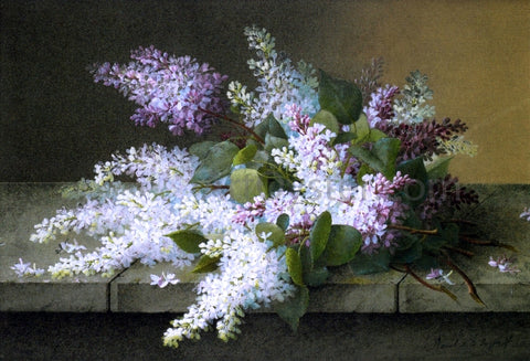 Raoul Paul Maucherat De Longpre Branch of Lilacs - Hand Painted Oil Painting